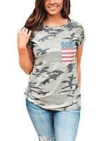 Women's Going out Casual/Daily Holiday Sexy Street chic Spring Summer T-shirtPrint Camouflage All Match Fashion Round Neck Short Sleeve  Medium