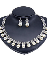 Jewelry Set Euramerican Fashion Classic Imitation Pearl Rhinestone Zinc Alloy Round 1 Necklace 1 Pair of Earrings ForWedding Party