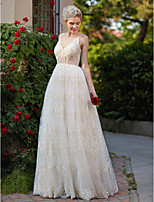 2017 LAN TING BRIDE A-line Wedding Dress - Chic & Modern Floral Lace Floor-length V-neck Lace with Appliques