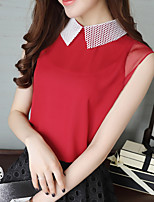 Women's Going out Casual/Daily Simple Blouse,Solid Round Neck Short Sleeve Polyester Medium