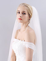 Wedding Veil Two-tier Fingertip Veils Cut Edge Tulle & Net