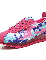 Women's Sneakers Spring Summer Comfort Tulle Outdoor Athletic Casual Flat Heel Lace-up Fuchsia Gray Black Running