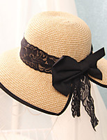 Women Summer Lace Chiffon Bowknot Butterfly Cap Sun UV Protection Straw Hat