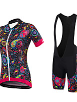 Maillot de Ciclismo con Shorts Bib Mujer Mangas cortas BicicletaShorts/Malla corta Camiseta/Maillot Pantalones Cortos Acolchados