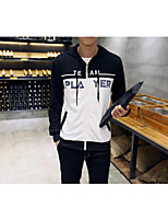 Men's Casual/Daily Simple Hoodie Letter Hooded Micro-elastic Cotton Long Sleeve Fall