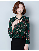 Women's Going out Work Cute Chinoiserie Spring Blouse,Floral V Neck Long Sleeve Rayon Thin