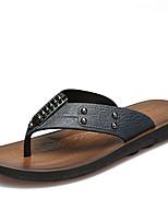 Masculino-Chinelos e flip-flops-Solados com LuzesAzul Escuro Amarelo Terra Castanho Escuro-Couro Ecológico-Casual