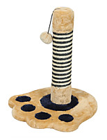 Cat Toy Interactive Scratch Pad Durable Wood Plush Beige