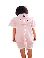 Kigurumi Pajamas Dinosaur Leotard/Onesie Festival/Holiday Animal Sleepwear Halloween Pink Solid Cotton Cosplay Costumes Kigurumi For
