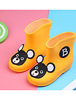 Girls' Flats Comfort Rubber Spring Fall Outdoor Casual Walking Rain Boots Magic Tape Low Heel Yellow Blue Blushing Pink Flat