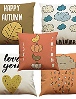 Set of 5 Season Story Pattern  Linen Pillowcase Sofa Home Decor Cushion Cover (18*18inch)