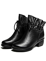 Women's Boots Spring Fall Comfort Cowhide Casual Chunky Heel Block Heel