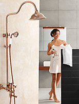 Country Centerset Waterfall Rotatable with  Ceramic Valve Single Handle Two Holes for  Rose Gold , Shower Faucet