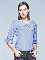 Damen Gestreift Street Schick Anspruchsvoll Lässig/Alltäglich Urlaub Hemd,Bateau Sommer ¾-Arm Elasthan Dünn