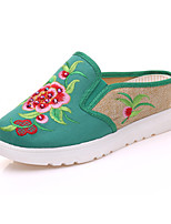 Women's Oxfords Summer Fall Slingback Comfort Novelty Embroidered Shoes Canvas Outdoor Office & Career Athletic Dress Casual Wedge Heel