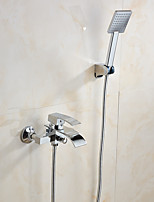 Contemporary Wall Mounted Waterfall with  Ceramic Valve Two Handles One Hole for  Chrome , Bathtub Faucet