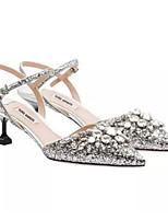 Mulheres sapatos de verão slingback PU casual prata