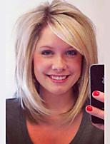 Shulder длина bob естественный прямой блондинка capless человеческий волос парик с боковой челкой для женщин 2017