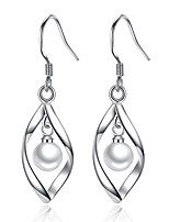 Drop Earrings Unique Design Imitation Pearl Platinum Plated Leaf Silver Jewelry For Wedding Party Daily Casual 1 pair