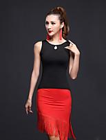 Latin Dance Outfits Women's Performance Milk Fiber Tassel 2 Pieces Sleeveless Natural Top / Skirt