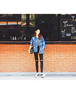 Women's Going out Casual/Daily Vintage Street chic Spring Fall Denim Jacket,Solid Cowl Regular Others