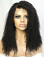 Heavy Density Kinky Curly Brazilian Human Hair Lace Front Wig With Bleached Knots