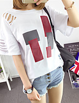 Women's Casual/Daily Simple T-shirt,Print Round Neck Long Sleeve Cotton