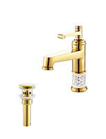 Antique Art Deco/Retro Modern Vessel Widespread with  Ceramic Valve Single Handle One Hole for  Ti-PVD , Bathroom Sink Faucet