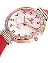 SKONE Women's Fashion Watch Quartz Noctilucent Leather Band Brown Pink Fuchsia