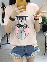 Women's Casual/Daily Cute T-shirt,Print Round Neck Short Sleeve Cotton