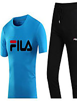 Men's Running Summer Sports Wear Exercise & Fitness Cotton Slim White Black Gray Green