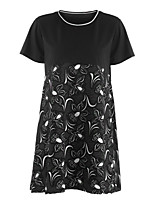 Women's Going out Street chic Fall T-shirt,Print Round Neck Short Sleeve Polyester