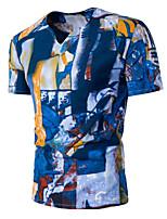 Dudian Men's Going out Simple Active Summer T-shirtGeometric Round Neck Short Sleeve Cotton Medium