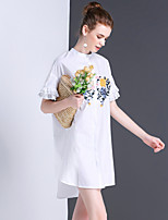 Women's Going out Casual/Daily Cute A Line Dress,Embroidered Stand Above Knee Short Sleeve Cotton Summer Mid Rise Inelastic Medium