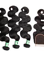 Tissages de cheveux humains Cheveux Malaisiens Ondulation naturelle 18 Mois 4 Pièces tissages de cheveux