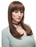 Middle Long Straight Heat resistant Fiber Synthetic Hair Light Brown Women's Daily Full Hair Wigs
