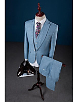 Sky Blue Solid Color One-Button Closure collar Linen Three-Pieces Tailored Fit Suit For Party/Evening
