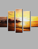 Hand-Painted Abstract Modern Five Panels Canvas Sunset Scenery Oil Painting  For Home Decoration