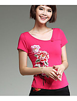 Women's Holiday Chinoiserie T-shirt,Embroidered Round Neck Short Sleeve Cotton