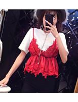Women's Casual/Daily Simple Blouse Dress Suits,Solid Round Neck