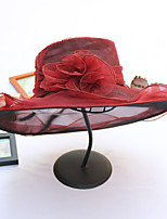 Womens Fashion Handmade Artificial Flower Organza Summer Or Spring Simple Sun Heart Print Bucket Hats Caps