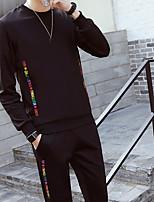 Men's Sports Sweatshirt Letter Round Neck strenchy Polyester