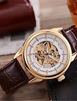 Мужской Часы со скелетом Механические часы Японский С автоподзаводом Натуральная кожа Группа Коричневый