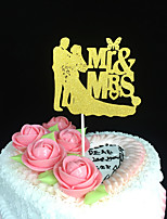 10pcs Wedding Decoration Paper Glitter Cake Topper Mr & Mrs Groom And Bride Cupcake Topper For Wedding Party Favors Supplies