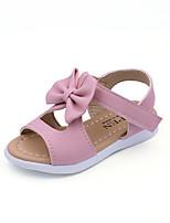 Girls' Sandals Spring Summer Fall Comfort PU Casual Flat Heel Bowknot Blushing Pink Purple White