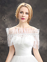 Women's Wedding Wrap Capelets Sleeveless Lace Tulle Wedding Party/Evening Draped Lace Pearls Rhinestone Grace Bride Shawl White Off-the-shoulder