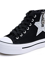 Women's Sneakers Spring Comfort Canvas Rubber Casual Blue Black White