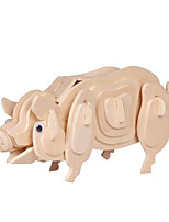 Puzzles Puzzles 3D Blocs de Construction Jouets DIY  Cochon Bois Maquette & Jeu de Construction