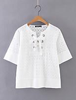 Tee-shirt Femme,Couleur Pleine Sortie Décontracté / Quotidien Sexy simple Chic de Rue Eté Manches Courtes Col Arrondi Coton Fin Moyen