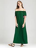 Для женщин На выход На каждый день Праздник Простое Очаровательный Уличный стиль Свободный силуэт Прямое Платье Однотонный,Вырез лодочкой